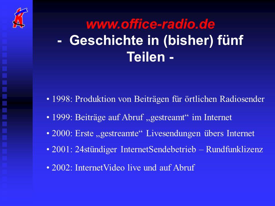 www.office-radio.de - Geschichte in (bisher) fünf Teilen - 1998: Produktion von Beiträgen für örtlichen Radiosender 1999: Beiträge auf Abruf gestreamt