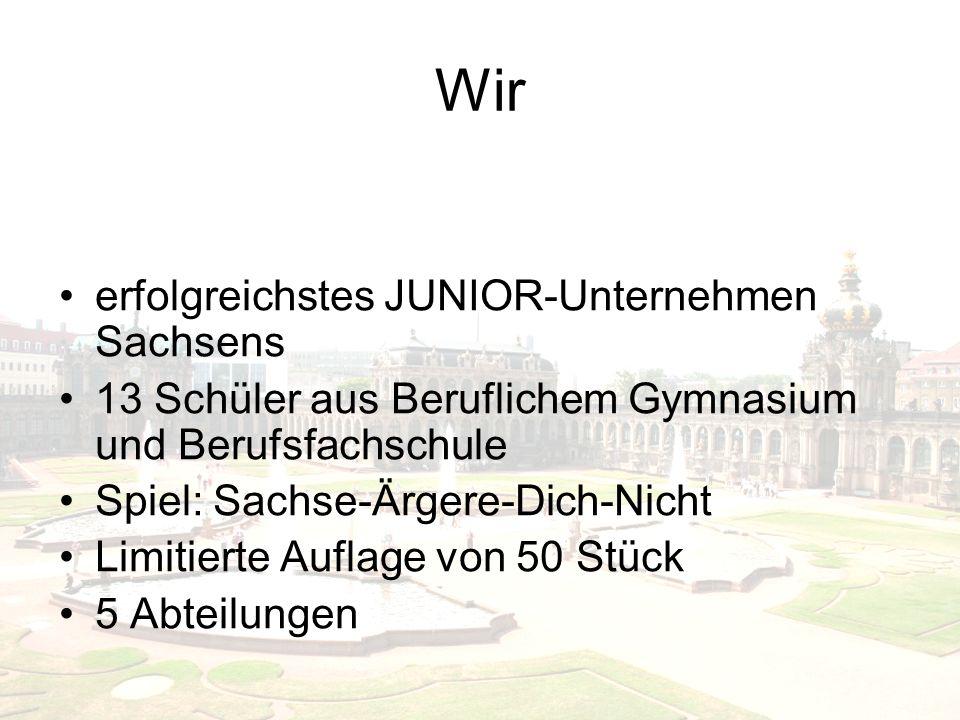 Wir erfolgreichstes JUNIOR-Unternehmen Sachsens 13 Schüler aus Beruflichem Gymnasium und Berufsfachschule Spiel: Sachse-Ärgere-Dich-Nicht Limitierte Auflage von 50 Stück 5 Abteilungen