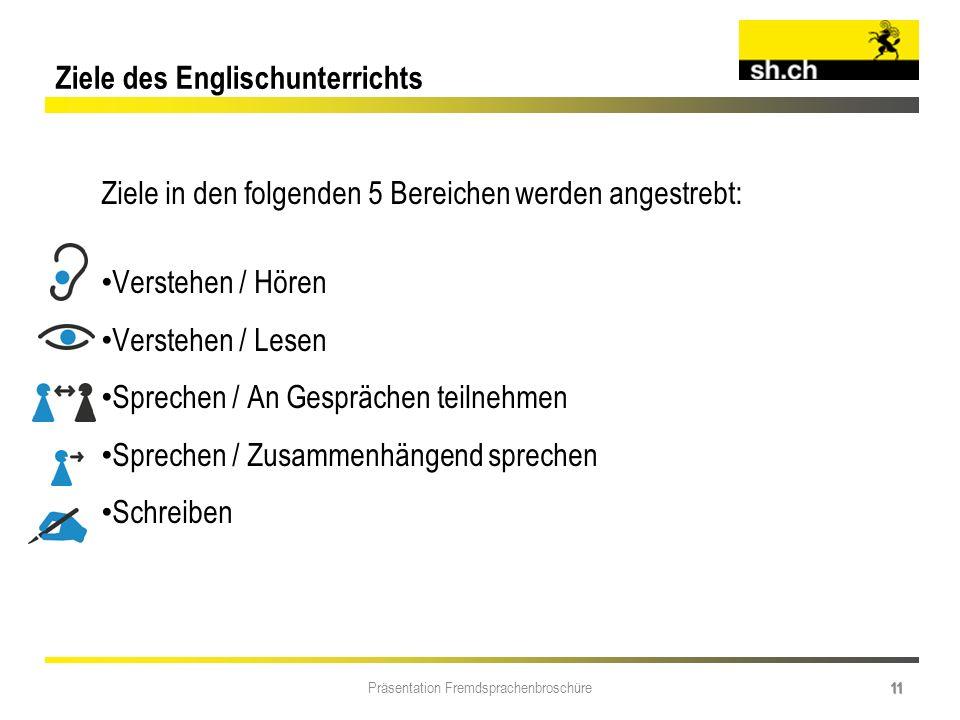 Präsentation Fremdsprachenbroschüre 11 Ziele in den folgenden 5 Bereichen werden angestrebt: Verstehen / Hören Verstehen / Lesen Sprechen / An Gespräc