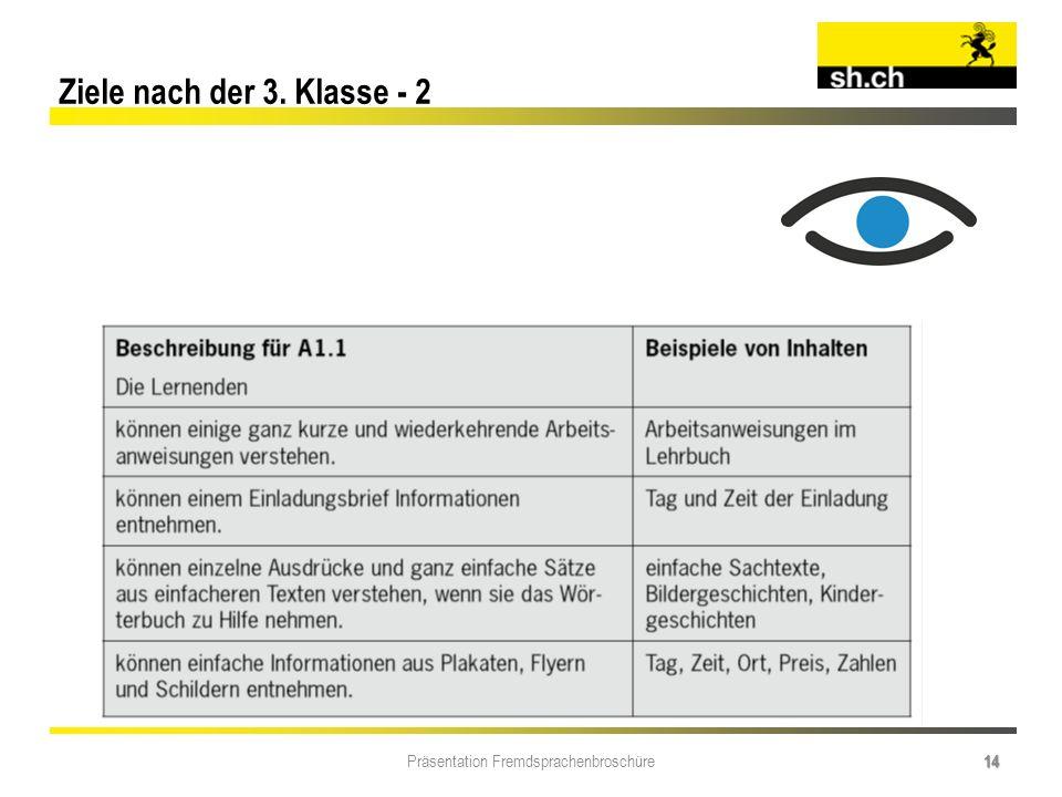Präsentation Fremdsprachenbroschüre 14 Ziele nach der 3. Klasse - 2