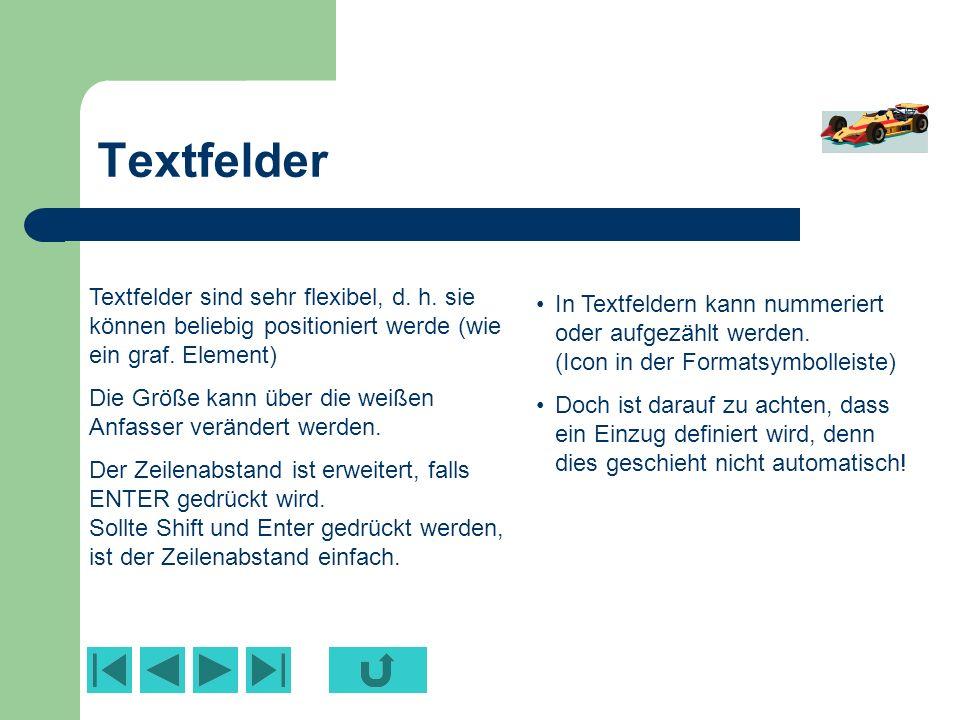 Text Text kann über verschiedene Ebenen geschrieben werden Hauptebene – Unterebene1 Unterebene2 – Unterebene1 U2 – u3 Standard sind Aufzählungen, bei denen das Maß für die Einrückung – wie bei Word – über das Lineal verändert werden kann