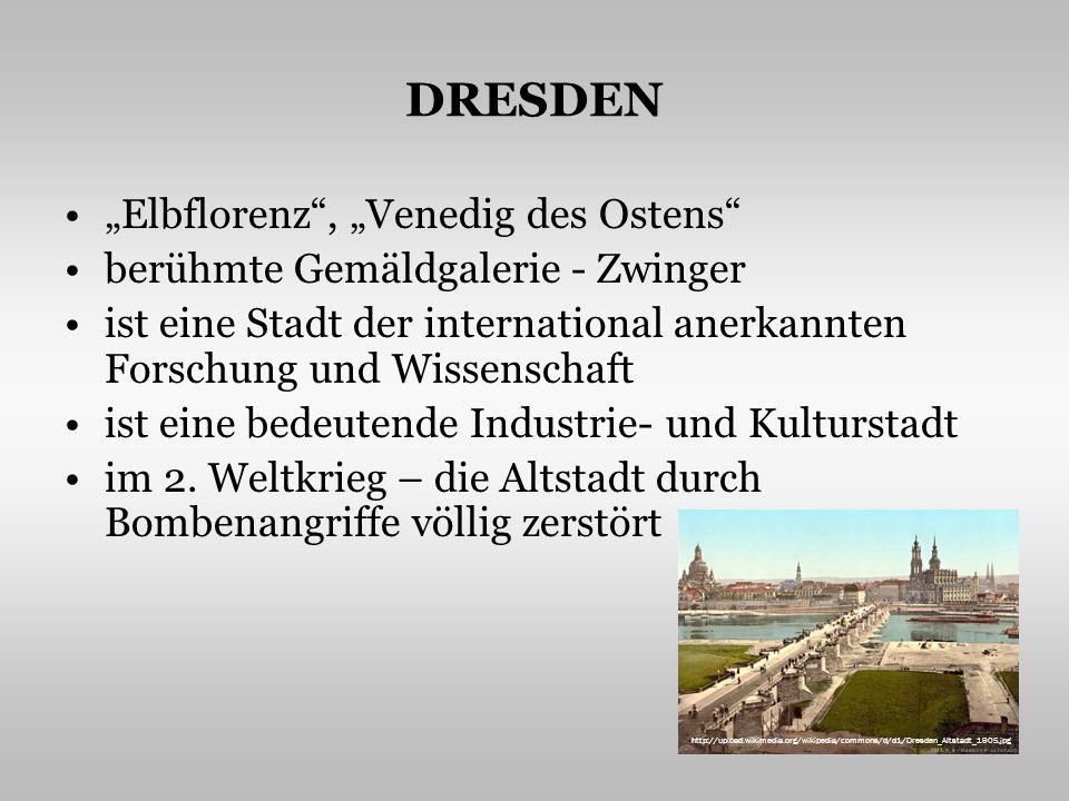 MÜNCHEN die Stadt mit der größten Universität ein wichtiges Industrie- und Kulturzentrum – viele Galerien, Museen, Theater Sehenswürdigkeiten – die gotische Frauenkirche, das neue Rathaus mit dem Glockenspiel, das Barockschloss Nymphenburg, die Alte Pinakothek die Stadt ist durch ihre Brauerei berühmt hier siedelt das Automobilwerk BMW