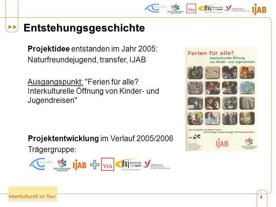 4 Entstehungsgeschichte Projektidee entstanden im Jahr 2005: Naturfreundejugend, transfer, IJAB Ausgangspunkt: Ferien für alle.