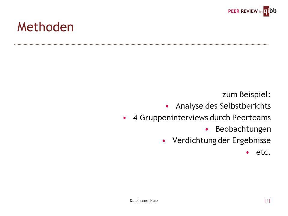 Dateiname Kurz|4||4| zum Beispiel: Analyse des Selbstberichts 4 Gruppeninterviews durch Peerteams Beobachtungen Verdichtung der Ergebnisse etc.