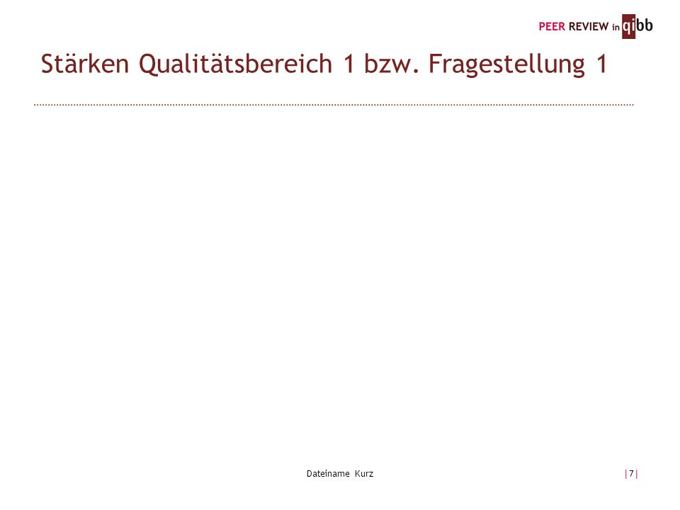 Dateiname Kurz|7||7| Stärken Qualitätsbereich 1 bzw. Fragestellung 1