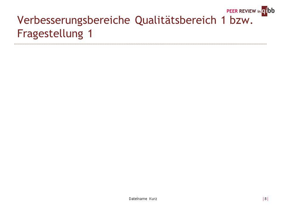 Dateiname Kurz|8||8| Verbesserungsbereiche Qualitätsbereich 1 bzw. Fragestellung 1