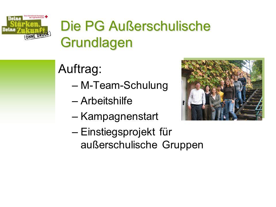 Die PG Außerschulische Grundlagen Auftrag: –M-Team-Schulung –Arbeitshilfe –Kampagnenstart –Einstiegsprojekt für außerschulische Gruppen