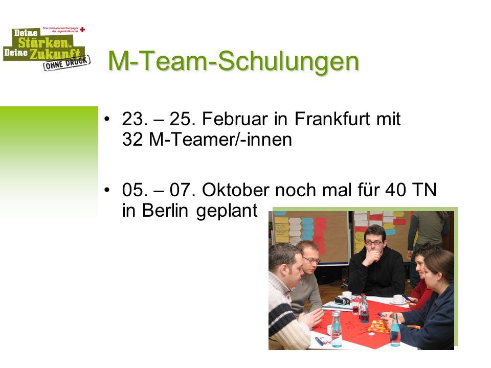 M-Team-Schulungen 23. – 25. Februar in Frankfurt mit 32 M-Teamer/-innen 05. – 07. Oktober noch mal für 40 TN in Berlin geplant