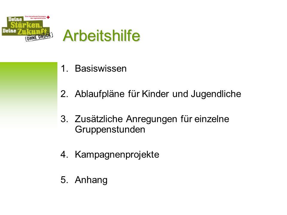 Arbeitshilfe 1.Basiswissen 2.Ablaufpläne für Kinder und Jugendliche 3.Zusätzliche Anregungen für einzelne Gruppenstunden 4.Kampagnenprojekte 5.Anhang