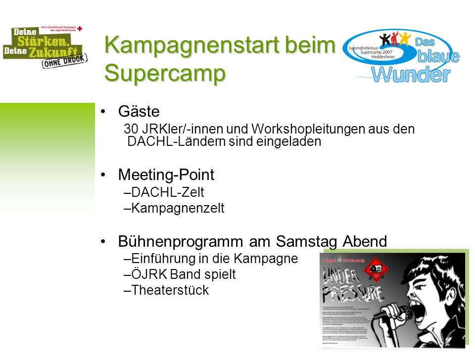 Kampagnenstart beim Supercamp Gäste 30 JRKler/-innen und Workshopleitungen aus den DACHL-Ländern sind eingeladen Meeting-Point –DACHL-Zelt –Kampagnenz