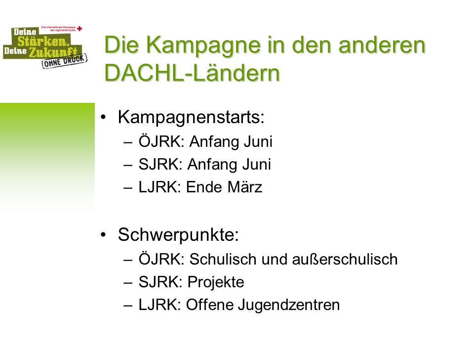 Die Kampagne in den anderen DACHL-Ländern Kampagnenstarts: –ÖJRK: Anfang Juni –SJRK: Anfang Juni –LJRK: Ende März Schwerpunkte: –ÖJRK: Schulisch und a