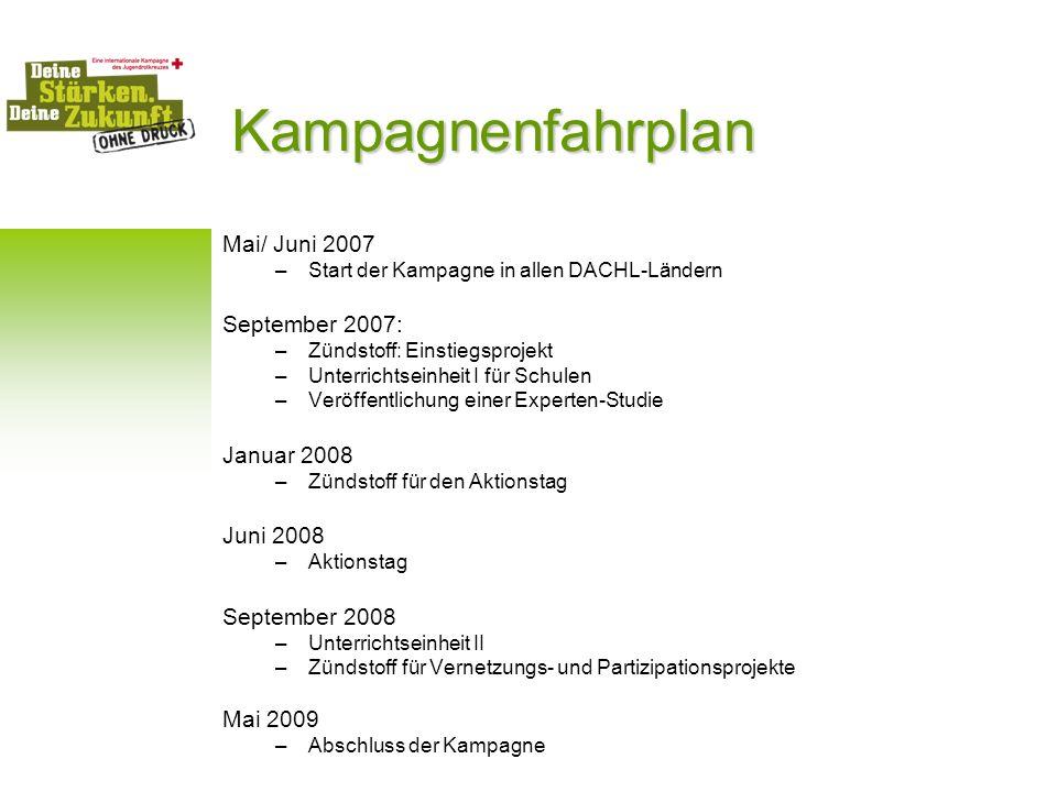 Kampagnenfahrplan Mai/ Juni 2007 –Start der Kampagne in allen DACHL-Ländern September 2007: –Zündstoff: Einstiegsprojekt –Unterrichtseinheit I für Sch