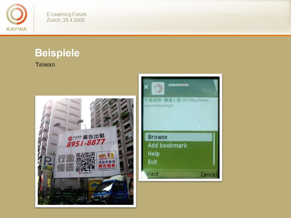 E-Learning Forum Zürich, 28.4.2009 Beispiele Taiwan.