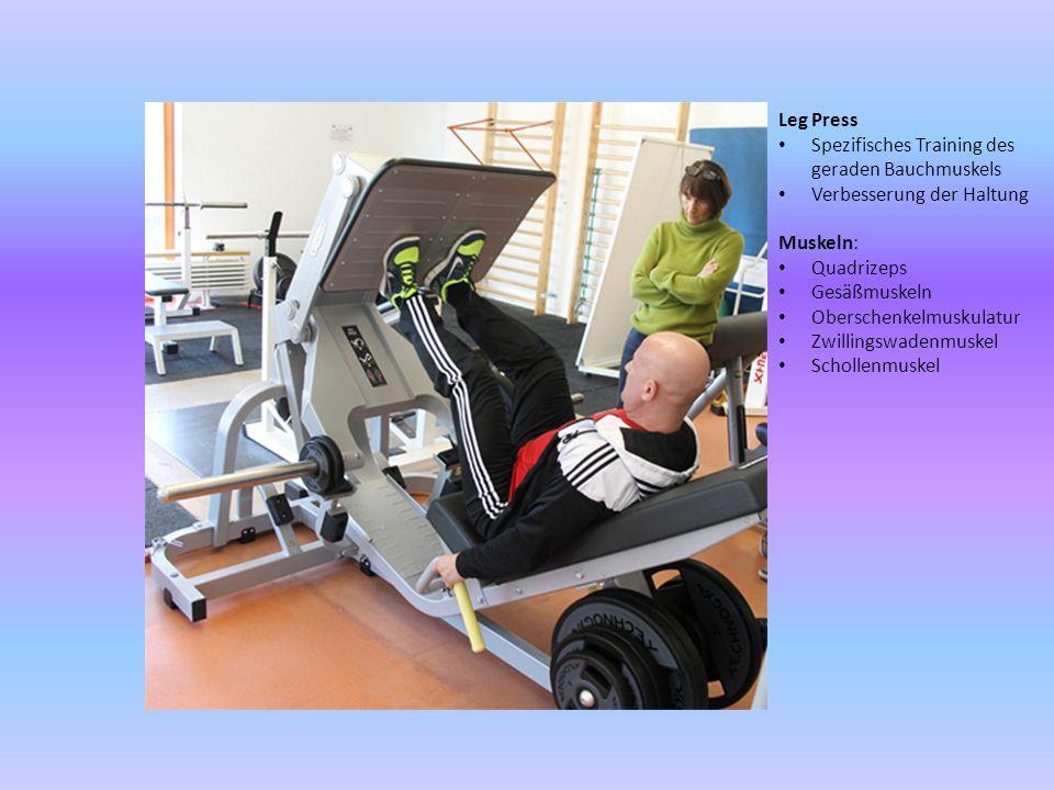 Leg Press Spezifisches Training des geraden Bauchmuskels Verbesserung der Haltung Muskeln: Quadrizeps Gesäßmuskeln Oberschenkelmuskulatur Zwillingswad