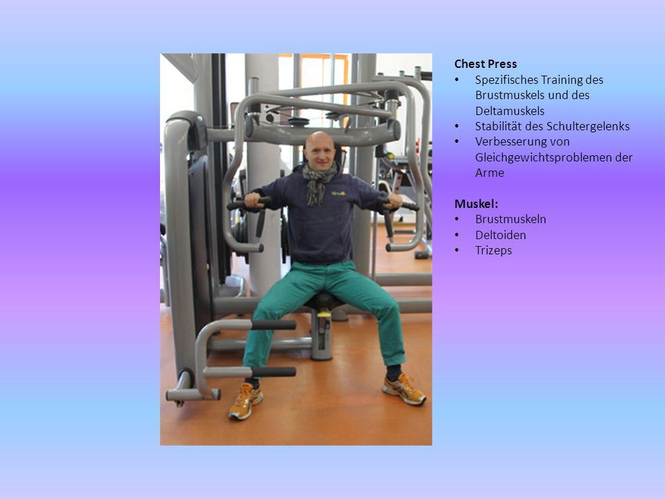 Klimmzug- & Dipsmaschine Spezifisches Training für die Verbesserung der sportlichen Leistungen Training aller Muskeln des Oberkörpers und der Arme Muskel: Bizeps Trizeps Rhomboiden Breiter Rückenmuskel Trapezmuskel Hinweis: Die Grundübung Dips ist nicht uneingeschränkt zu empfehlen: Verletzungsgefahr bei falscher Ausführung