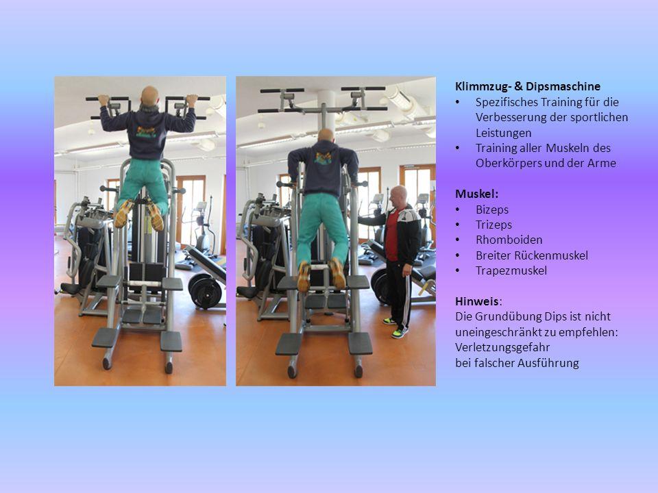 Klimmzug- & Dipsmaschine Spezifisches Training für die Verbesserung der sportlichen Leistungen Training aller Muskeln des Oberkörpers und der Arme Mus