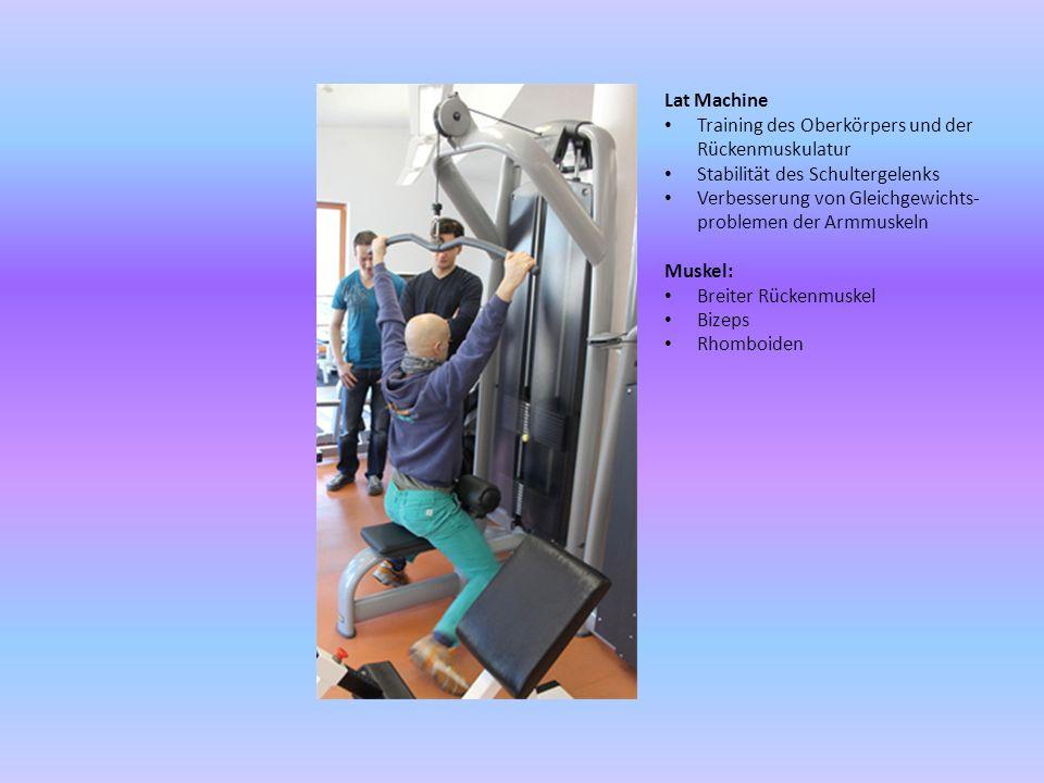 Lat Machine Training des Oberkörpers und der Rückenmuskulatur Stabilität des Schultergelenks Verbesserung von Gleichgewichts- problemen der Armmuskeln