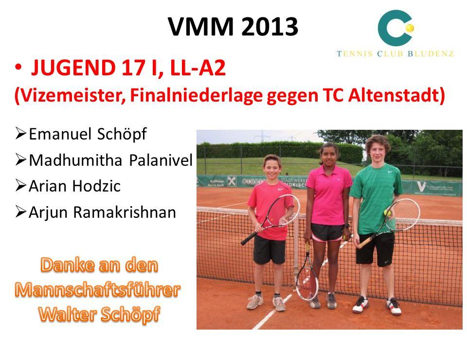 VMM 2013 JUGEND 17 I, LL-A2 (Vizemeister, Finalniederlage gegen TC Altenstadt) Emanuel Schöpf Madhumitha Palanivel Arian Hodzic Arjun Ramakrishnan