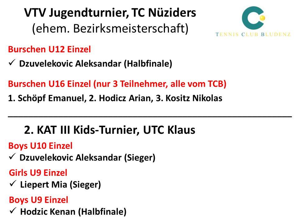 VTV Jugendturnier, TC Nüziders (ehem. Bezirksmeisterschaft) Burschen U12 Einzel Dzuvelekovic Aleksandar (Halbfinale) Burschen U16 Einzel (nur 3 Teilne