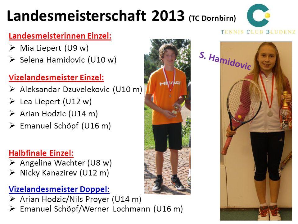 Landesmeisterschaft 2013 (TC Dornbirn) Landesmeisterinnen Einzel: Mia Liepert (U9 w) Selena Hamidovic (U10 w) Vizelandesmeister Einzel: Aleksandar Dzu