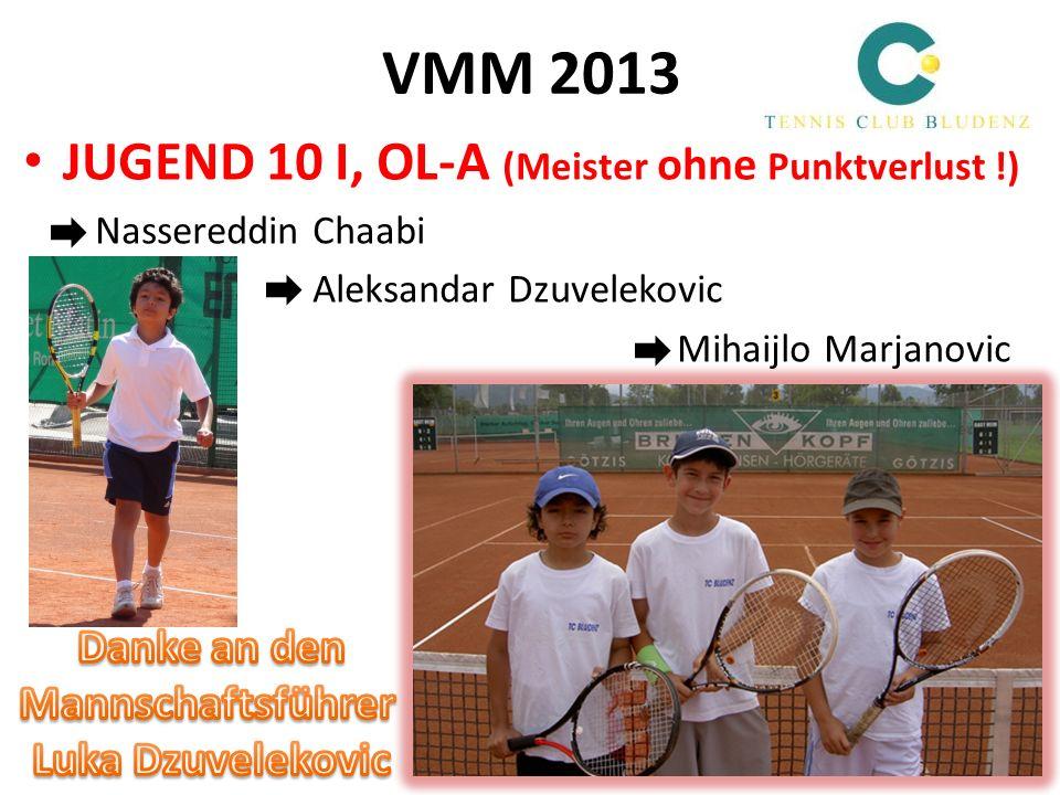 VMM 2013 JUGEND 10 I, OL-A (Meister ohne Punktverlust !) Nassereddin Chaabi Aleksandar Dzuvelekovic Mihaijlo Marjanovic