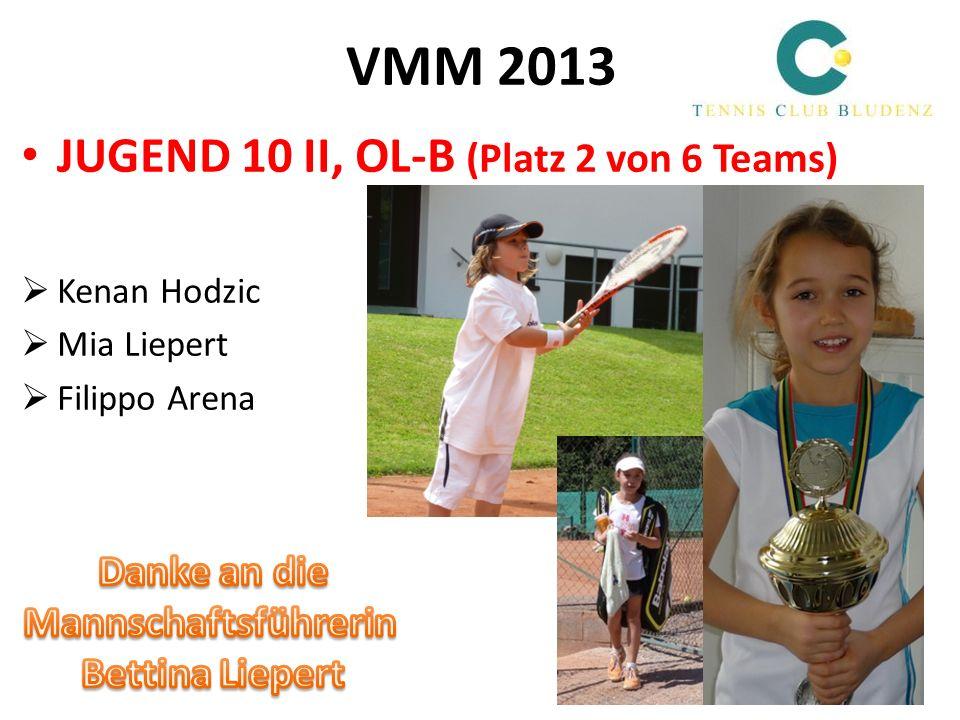 VMM 2013 JUGEND 10 II, OL-B (Platz 2 von 6 Teams) Kenan Hodzic Mia Liepert Filippo Arena