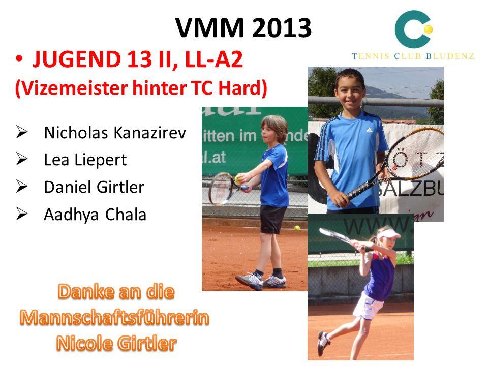 VMM 2013 JUGEND 15, LL-A2 (Meister, 3:1-Finalsieg gegen TC BW Feldkirch !) David Hintner Pia Bott Bharath Nishok Kumaran