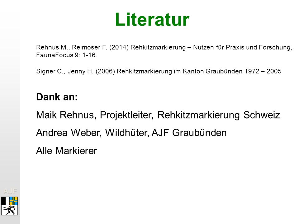 AJFAJF Literatur Rehnus M., Reimoser F.