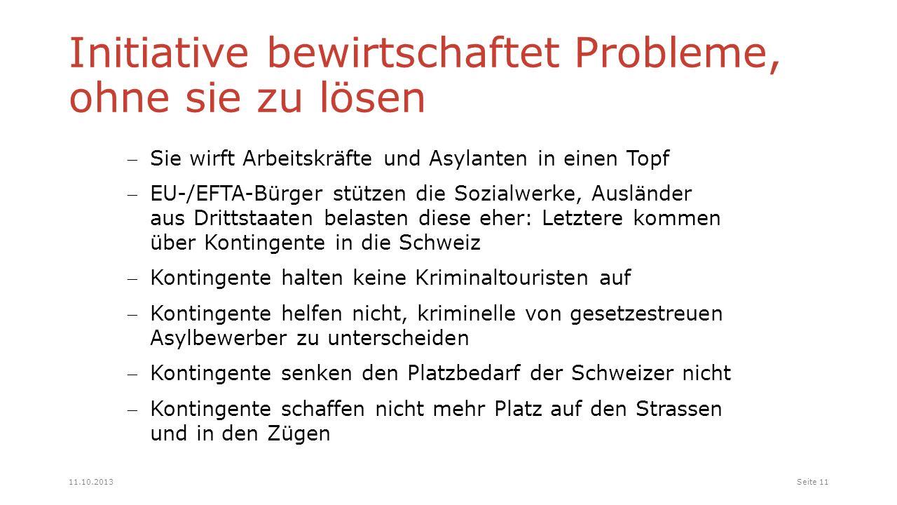 Sie wirft Arbeitskräfte und Asylanten in einen Topf EU-/EFTA-Bürger stützen die Sozialwerke, Ausländer aus Drittstaaten belasten diese eher: Letztere kommen über Kontingente in die Schweiz Kontingente halten keine Kriminaltouristen auf Kontingente helfen nicht, kriminelle von gesetzestreuen Asylbewerber zu unterscheiden Kontingente senken den Platzbedarf der Schweizer nicht Kontingente schaffen nicht mehr Platz auf den Strassen und in den Zügen Initiative bewirtschaftet Probleme, ohne sie zu lösen Seite 1111.10.2013