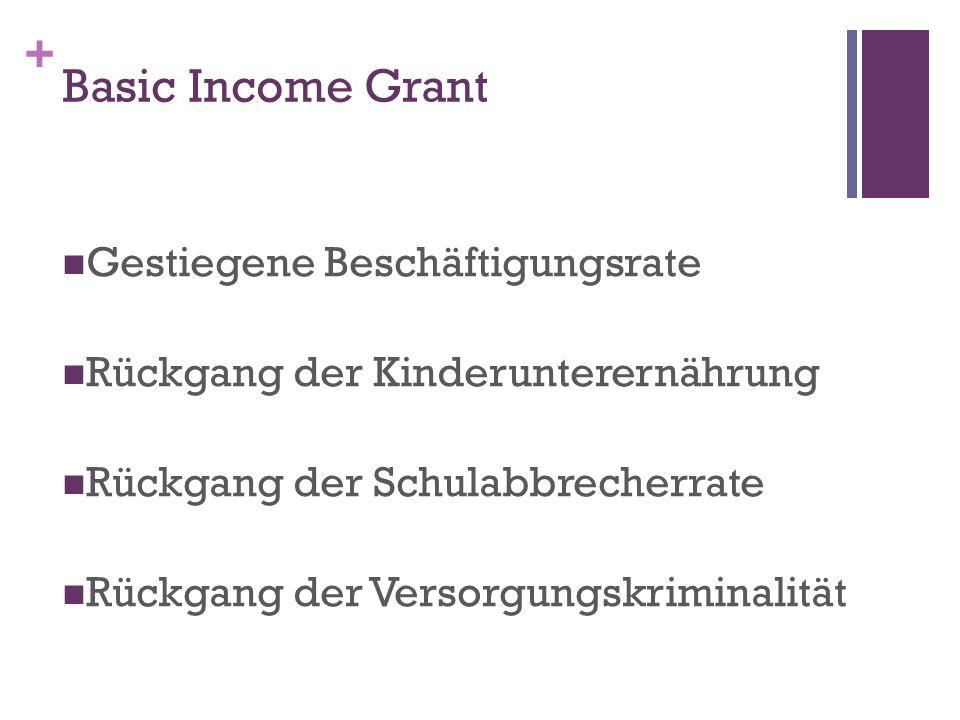 + Basic Income Grant Gestiegene Beschäftigungsrate Rückgang der Kinderunterernährung Rückgang der Schulabbrecherrate Rückgang der Versorgungskriminalität