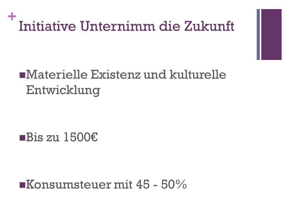 + Initiative Unternimm die Zukunft Materielle Existenz und kulturelle Entwicklung Bis zu 1500 Konsumsteuer mit 45 - 50%