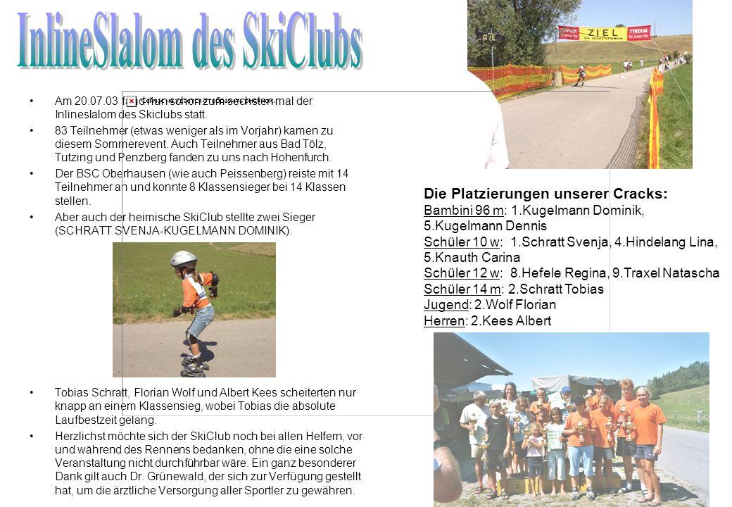 Am 20.07.03 fand nun schon zum sechsten mal der Inlineslalom des Skiclubs statt. 83 Teilnehmer (etwas weniger als im Vorjahr) kamen zu diesem Sommerev