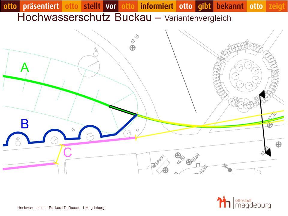 Hochwasserschutz Buckau I Tiefbauamt I Magdeburg Hochwasserschutz Buckau – Variantenvergleich A B C