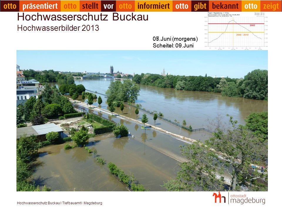 Hochwasserschutz Buckau I Tiefbauamt I Magdeburg Hochwasserschutz Buckau Hochwasserbilder 2013 05.Juni (morgens) Scheitel: 09.Juni 07.Juni (morgens) S