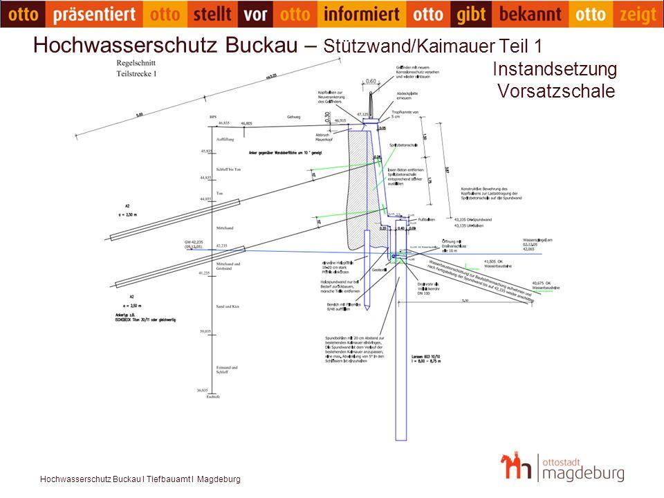 Hochwasserschutz Buckau I Tiefbauamt I Magdeburg Hochwasserschutz Buckau – Stützwand Teil 2 Instandsetzung Vorsatzschale