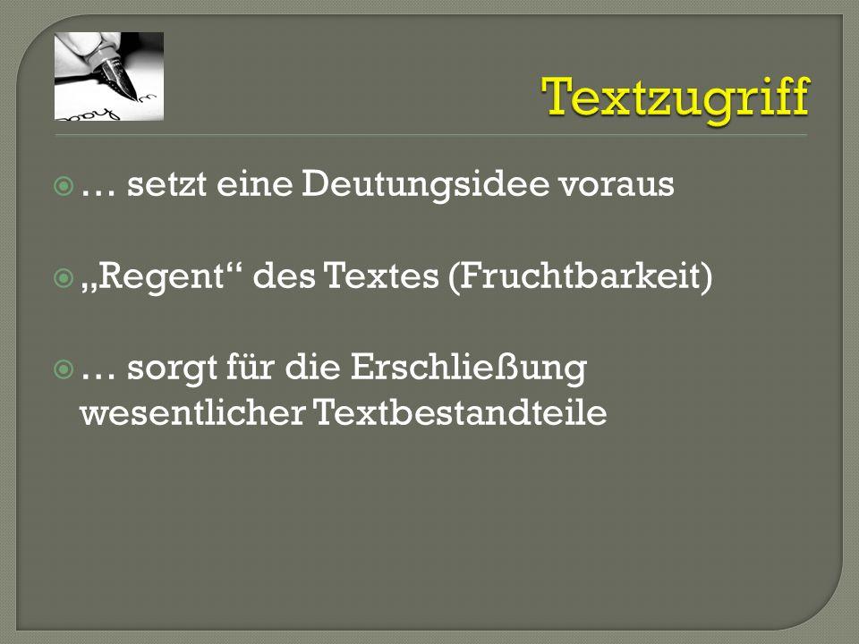 … setzt eine Deutungsidee voraus Regent des Textes (Fruchtbarkeit) … sorgt für die Erschließung wesentlicher Textbestandteile