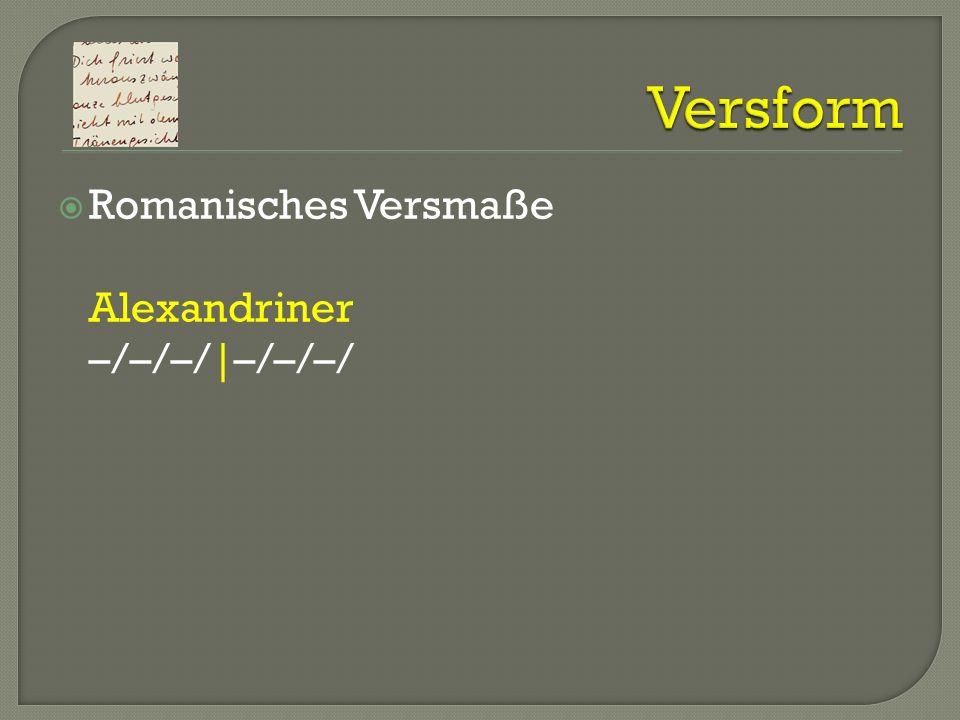 Romanisches Versmaße Alexandriner –/–/–/|–/–/–/