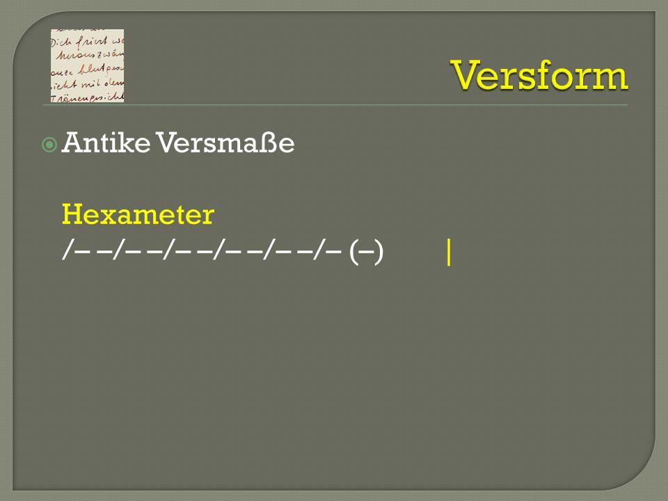 Antike Versmaße Hexameter /– –/– –/– –/– –/– –/– (–)|