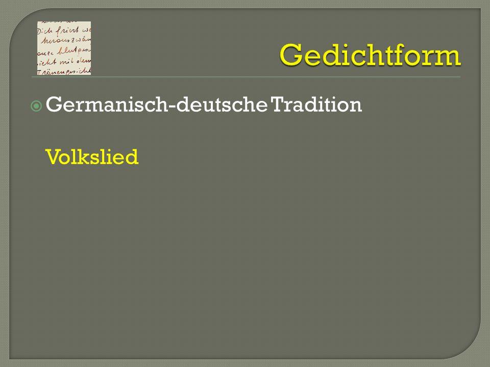 Germanisch-deutsche Tradition Volkslied