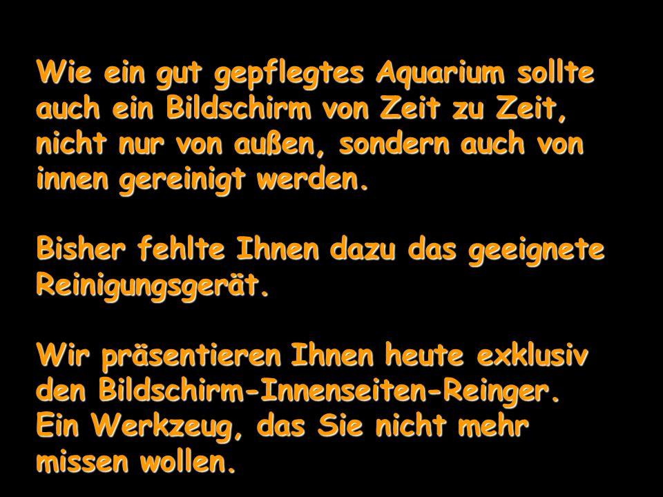 Wie ein gut gepflegtes Aquarium sollte auch ein Bildschirm von Zeit zu Zeit, nicht nur von außen, sondern auch von innen gereinigt werden. Bisher fehl