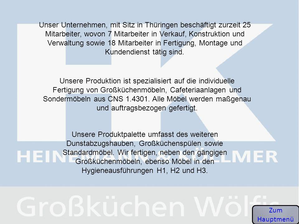 Unser Unternehmen, mit Sitz in Thüringen beschäftigt zurzeit 25 Mitarbeiter, wovon 7 Mitarbeiter in Verkauf, Konstruktion und Verwaltung sowie 18 Mita