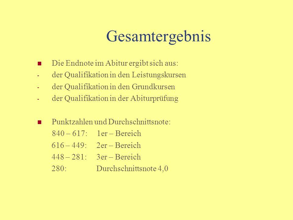 Prüfungsqualifikation schriftliche Prüfung in den 3 Leistungsfächern mündliche Prüfung im 4.