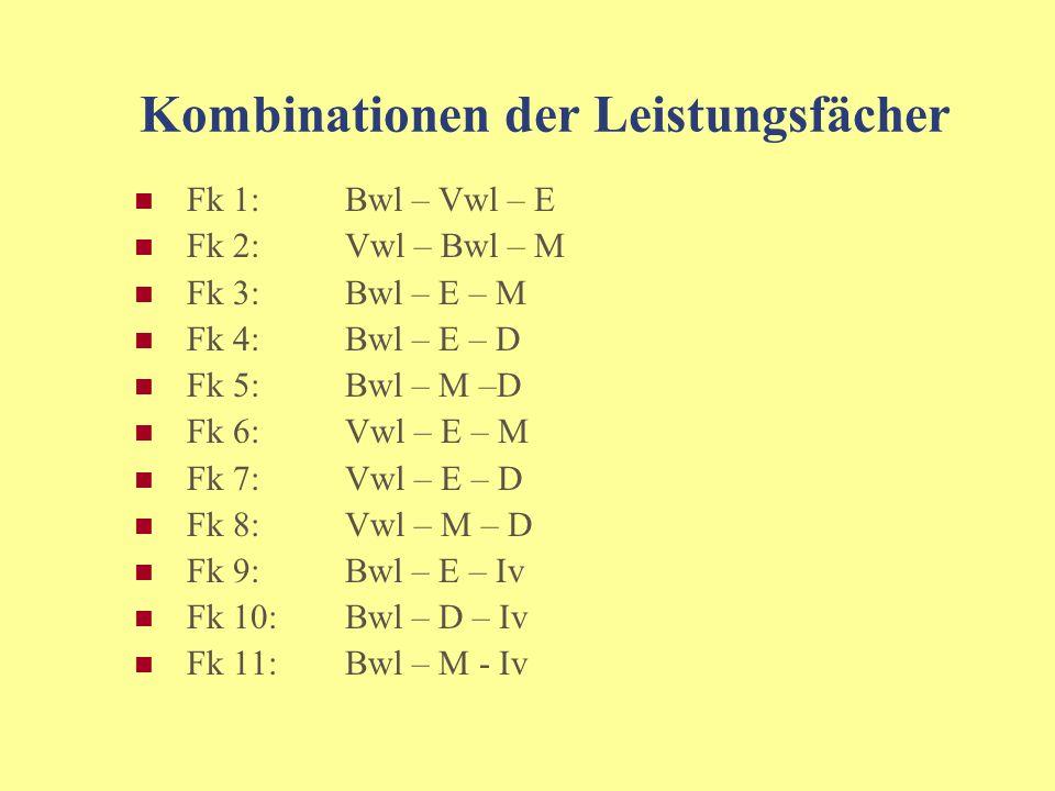 Mögliche Leistungsfächer sprachlich-literarisch-künstlerisches Aufgabenfeld: Deutsch Englisch gesellschaftswissenschaftliches Aufgabenfeld: Betriebswirtschaftslehre / Rechnungswesen Volkswirtschaftslehre mathematisch-naturwissenschaftliches Aufgabenfeld: Mathematik Informationsverarbeitung