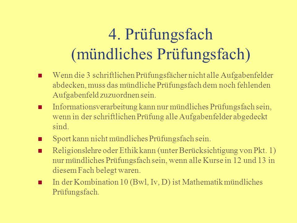 Verpflichtende Grundfächer die nicht gewählten möglichen Leistungsfächer (D, M, E 3-std.; Bwl, Vwl, Iv 2-std.) Französisch (3-std.) Gemeinschaftskunde (2-std.) 12/1 G, S; 12/2 G, W; 13/1 und 13/2 G/S, W Naturwissenschaft (2-std.): Biologie oder Chemie oder Physik Religionslehre / Ethik (2-std.) Sport nur in 12/1 und 12/2: Bildende Kunst oder Musik zu beachten ist: Französisch: Anfänger ab Klasse 11 dürfen keinen Kurs in 12 oder 13 mit 0 Punkten abschließen.