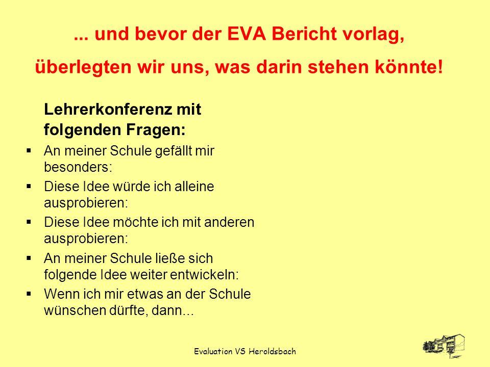 Evaluation VS Heroldsbach... und bevor der EVA Bericht vorlag, überlegten wir uns, was darin stehen könnte! Lehrerkonferenz mit folgenden Fragen: An m