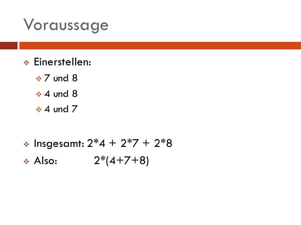 Voraussage Einerstellen: 7 und 8 4 und 8 4 und 7 Insgesamt: 2*4 + 2*7 + 2*8 Also: 2*(4+7+8)
