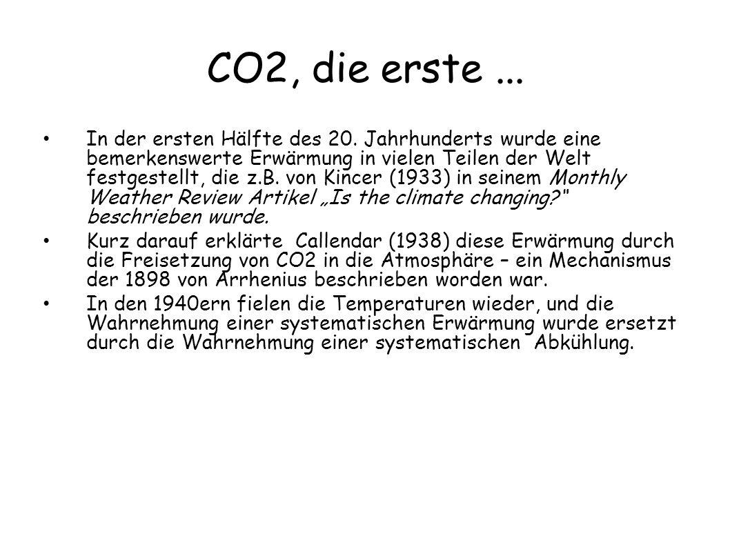 CO2, die erste... In der ersten Hälfte des 20. Jahrhunderts wurde eine bemerkenswerte Erwärmung in vielen Teilen der Welt festgestellt, die z.B. von K