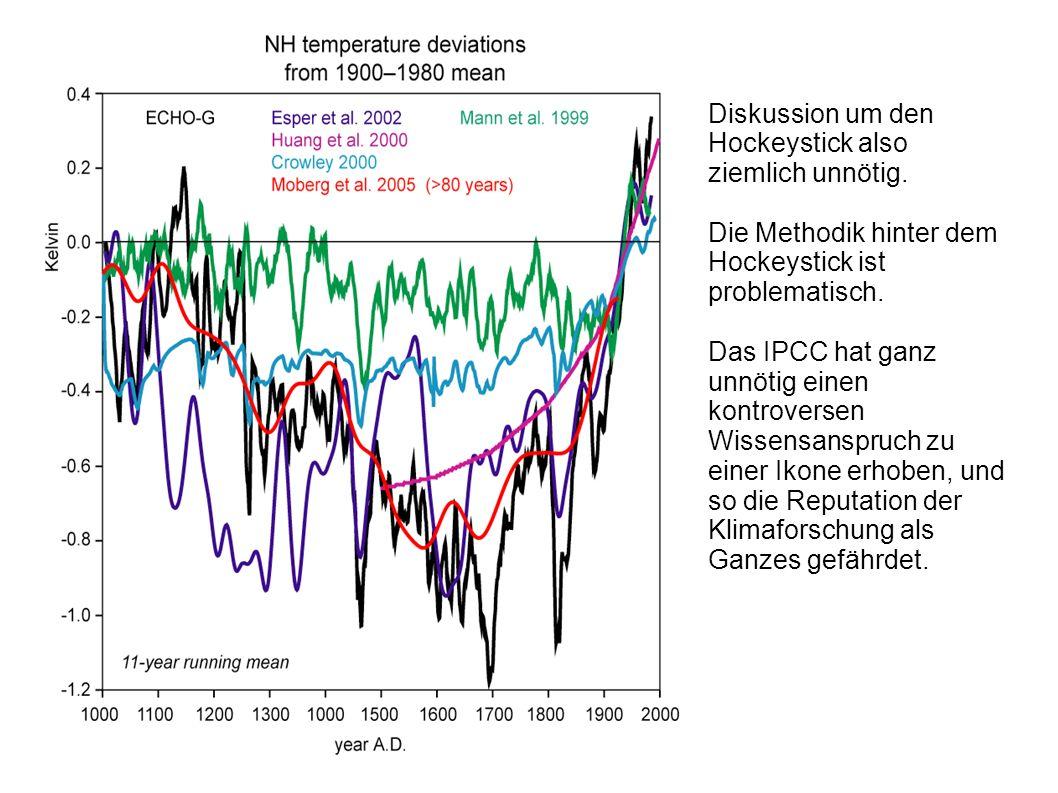 Diskussion um den Hockeystick also ziemlich unnötig. Die Methodik hinter dem Hockeystick ist problematisch. Das IPCC hat ganz unnötig einen kontrovers