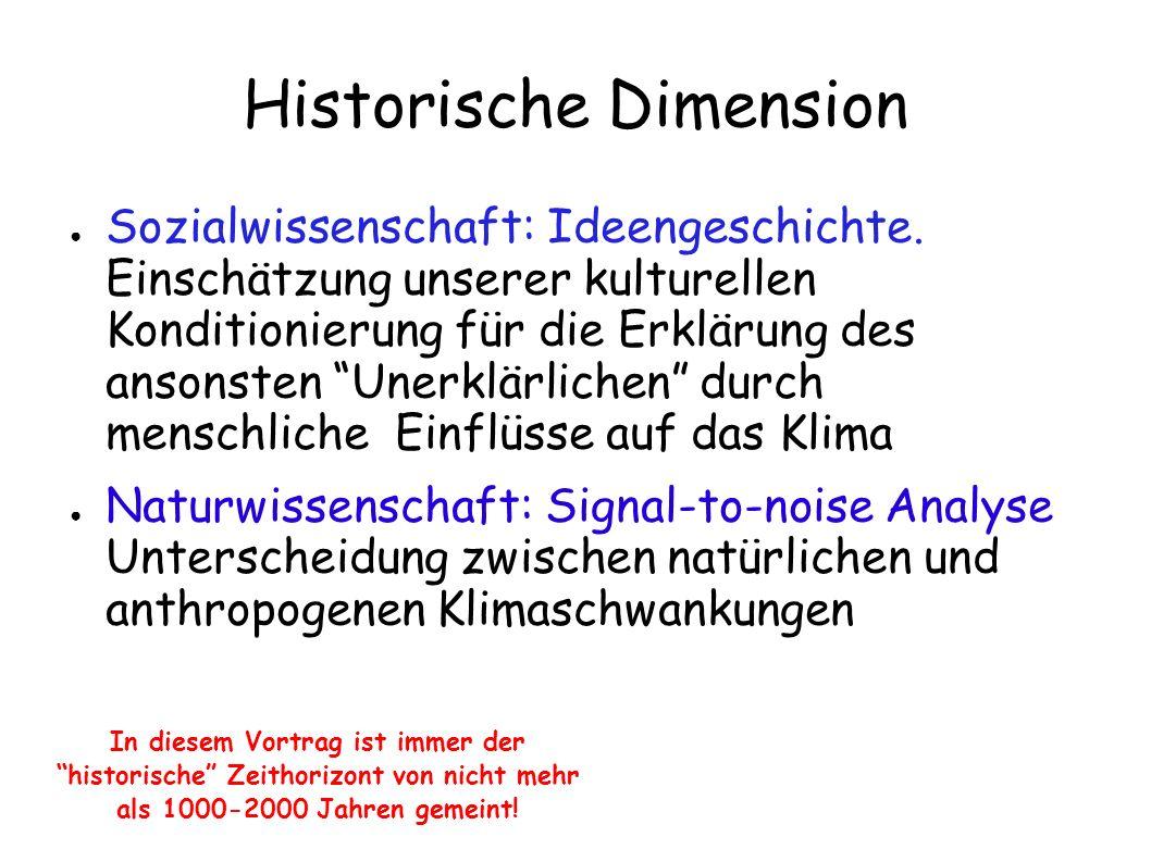 Historische Dimension Sozialwissenschaft: Ideengeschichte. Einschätzung unserer kulturellen Konditionierung für die Erklärung des ansonsten Unerklärli