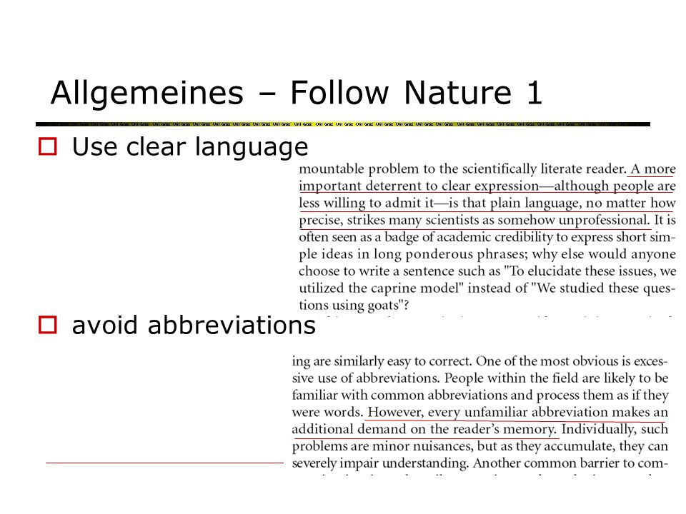 Allgemeines – Follow Nature 2 No focus on stats avoid vapid statements